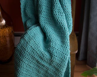 Teal Blanket | Chunky Crochet Throw | Super-Soft Afghan | Large Blanket | Soft Afghan | Blanket with Fringes | Crochet Blanket