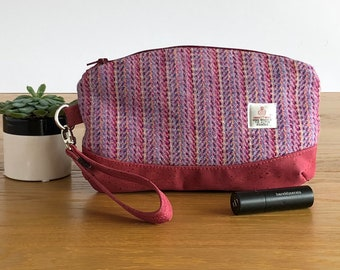 Harris Tweed clutch bag - pink wristlet - pink zippered pouch - wool anniversary gift - evening bag - gift for mum