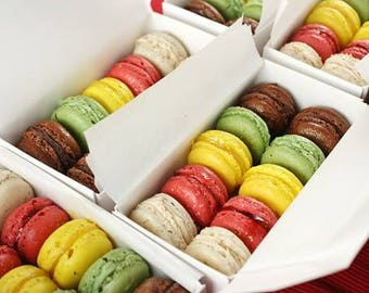 One dozen 12 French Macaroon cookies in assorted flavors party favors gifts Valentine's day wedding
