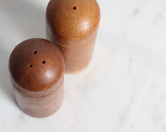 Vintage Walnut wood Salt and Pepper Shakers