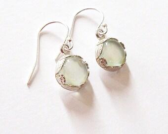 Green Prehnite Gemstone Drop Earrings in Sterling Silver Flower Leaf and Vine Bezel, Ear Wire Options
