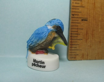 Common KINGFISHER Mini Hand Painted Porcelain Bird Birds - French Feve Feves Figurine Doll House Miniatures T20