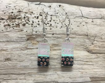 fused glass, dichroic glass earrings, handmade fused glass, glass earrings, glass jewelry, dangle earrings, dichroic glass jewelry, earrings