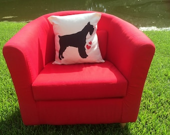 Schnauzer Canvas Pillow - Hand Painted Pillow Cover