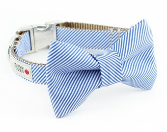 Blue Pinstripe Bowtie Dog Collar