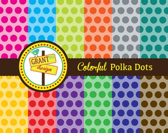 Colorful Polka Dots Digital Papers - Backgrounds for Invitations, Card Design, Scrapbooking, and Web Design