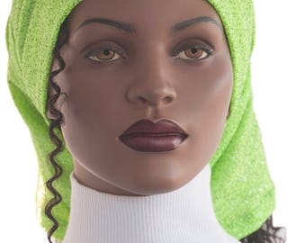 Hair Sock Lock Sock Lime Sparkle Jersey Dreadlocks Hair Dreads Tube Sock Head Tube Hat Handmade