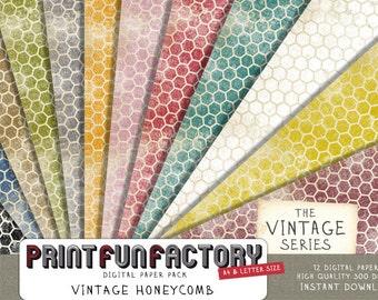 Honeycomb digital paper - vintage honeycomb distressed scrapbook paper - 12 digital papers (#148) INSTANT DOWNLOAD