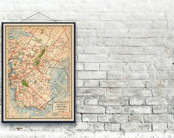 Brooklyn 1916 New York City Map Fine Art Print