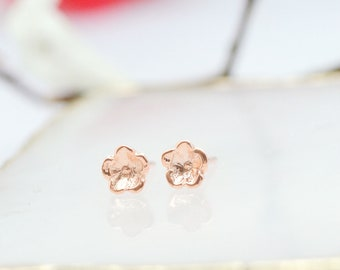 forget me not earrings, forget me not gifts, Rose gold flower earrings, bridesmaid earrings, flower earrings,