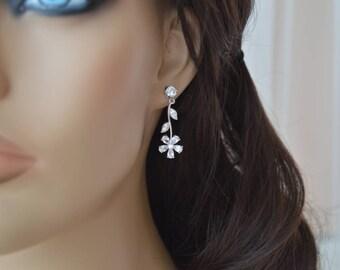 Bridal Earrings, Cubic zirconia Earrings.