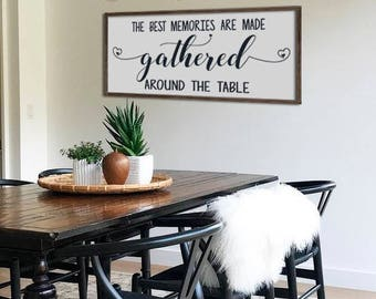 Genial Large Dining Room Sign | The Best Memories Are Made Around The Talbe |  Farmhouse Wall