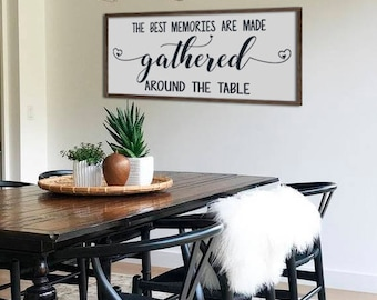 High Quality Large Dining Room Sign | The Best Memories Are Made Around The Talbe |  Farmhouse Wall