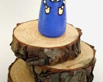 Small Wooden Peg Doll - Blue