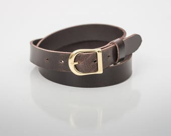 "Espresso Leather Belt (1"" width) - Gold or Silver Finish"
