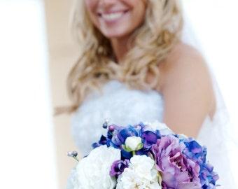 Purple Bouquet - Wedding Bouquet, Hydrangea, Peonies, Garden Roses