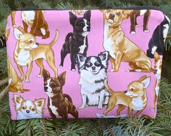 Chihuahua zip bag, makeup bag, zippered bag, Chihuahua on pink, The Scooter