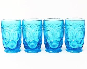Vtg L E Smith Glass Moon & Stars Colonial Blue Tumbler Glasses Set of 4