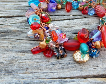 Beaded bracelet, cha cha bracelet, gift for mom, cluster bracelet, whimsical bracelet, copper bracelet, wire wrapped, colorful bracelet