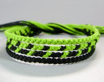 Lime Green and Black Friendship Bracelet Set