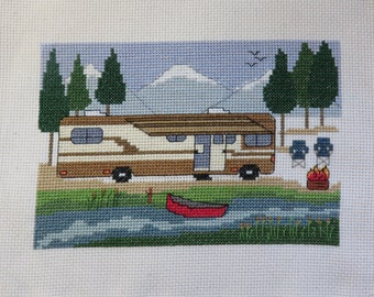 PDF PATTERN - Class A Camping by the River - Camping Counted Cross Stitch