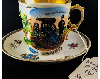 Pair of German Hand Painted Teacups with Saucers from 1899 and 1903