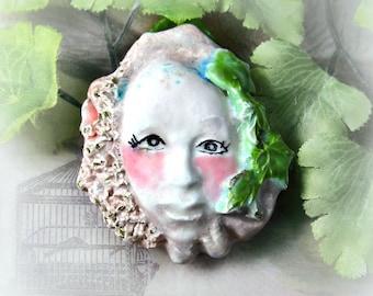 ceramic bead - one of a kind bead - handmade face bead -  handmade clay bead - pink bead - OOAK bead -     # 145