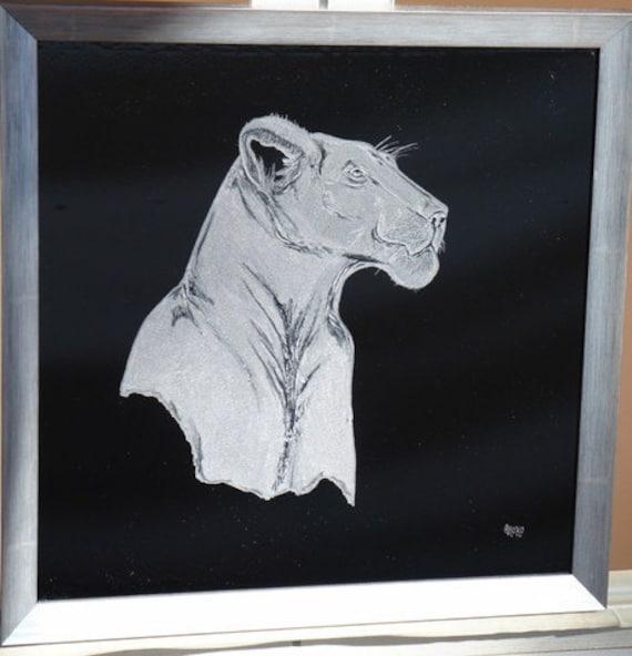 Handengraved lion framed, lion personalized art, engraved lion, office decor, home decor, African Art, lion king, Lioness