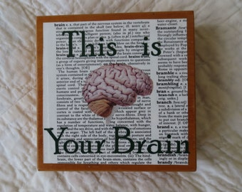 This is Your Brain coaster set with 5 decoupaged coasters and box