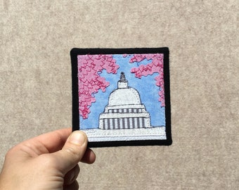 Mini Capitol with Cherry Blossoms, inches, original sewn fabric artwork, handmade, freehand appliqué, ready to hang canvas