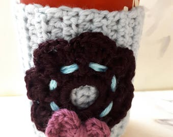 Crochet Coffee Cup Sleeve. Handmade Cup Cozy.