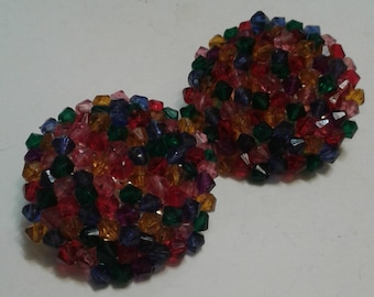 1960s Candy Bead Clip On Earrings