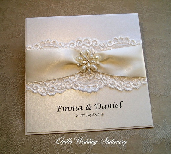 Pearl And Lace Wedding Invitations: Richmond. Luxury Pearl And Lace Wedding Invitation. Various