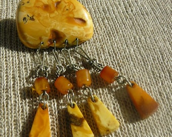 Old Unique Color Butterscotch Natural Baltic Amber Stone Brooch with Patina.Made in Latvia, circa 1930-40's.