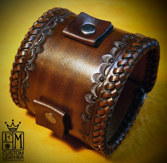 Leather cuff Bracelet Brown Vintage style braided edge, hand tooled, Fine quality Made for YOU in USA by Freddie Matara