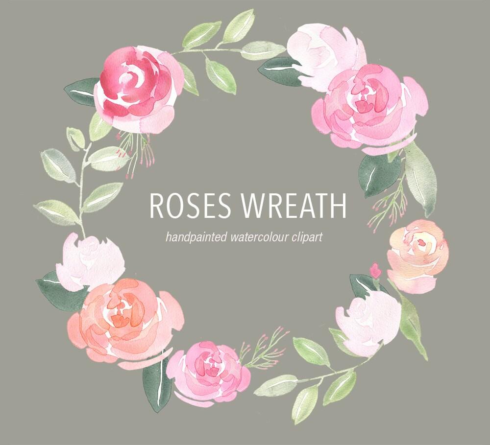 Flower Wreaths For Weddings: Watercolour Wreath Clipart Rose Clip Art Wedding Rose