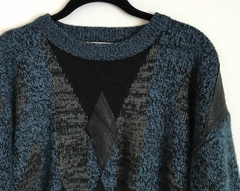 80s/90s Navy Blue and Leather Accent Marled Sweater
