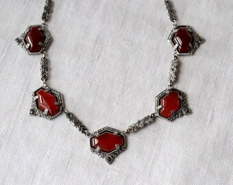 Art Nouveau, Carnelian, Sterling, Marcasite, Necklace, Czech, PK126