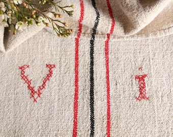 B 961: grainsack, antique linen,FRENCH RED and BLACK;  pillow benchcushion;wedding decoration;upholstery project,vintage,gift bag 47.24long