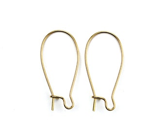 Ear Wires Elongated Kidney Gold Plated 25x12mm (24) FI809