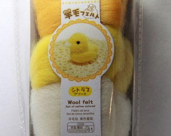 Pastel Colors Collection - 3 Colors Needle Felting Wool Roving Set of Yellow Color