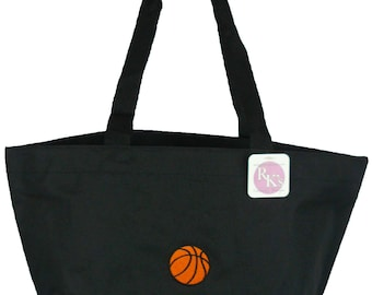 Basketball Carry All Zippered Tote Bag Coach Gift + Free Name Monogram Custom Embroidered