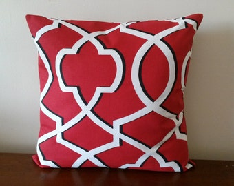 Christmas  Pillow Cover, 20''x20'' Red Geometric Pillow Cover, Decorative Pillow Cover, 20''x20''