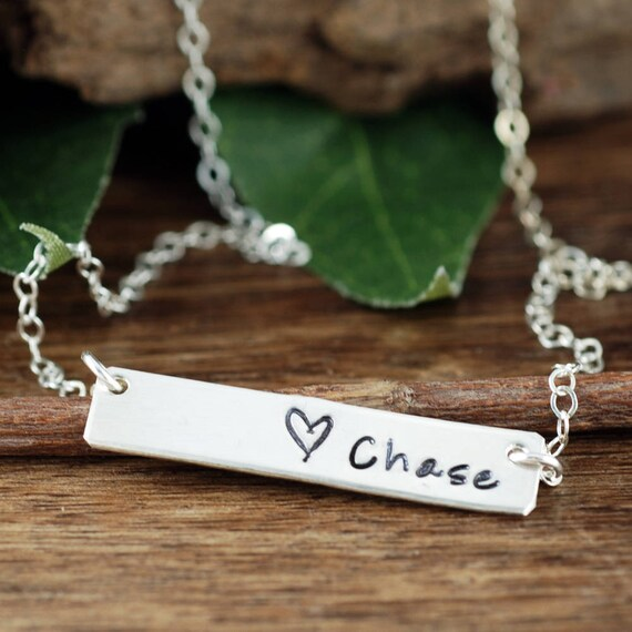 Personalized Name Bar Necklace, Sterling Silver Rectangular Bar, Mother's Necklace, Hand Stamped Jewelry, Valentines Day Gift