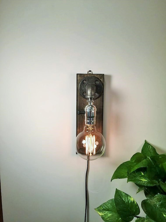Plug In Wall Sconce Lamp Rustic Home Decor Sconce