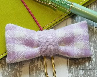Upcycled Sock Bow Planner Clip, Lavender Bow, Handmade Clip, Bookmark, Sock Bow, Planner Clip, Bookmark, Journal Clip, Eco Friendly Bow