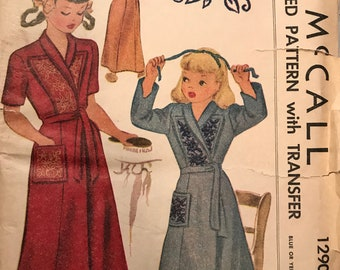 Vintage McCalls 1290 Girls' Housecoat Pattern With Transfer Size 6 1940s