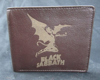 Black Sabbath leather bi fold wallet- hand made premium leather