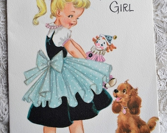 Vintage Birthday Card - To a Sweet Little Girl and Puppy - Used