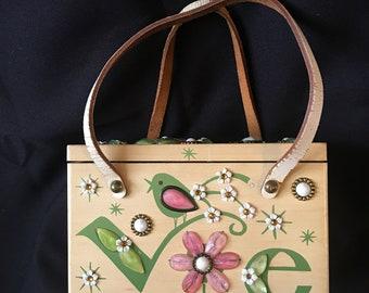 Enid Collins LOVE Wood Box Bag Collins of Texas Purse